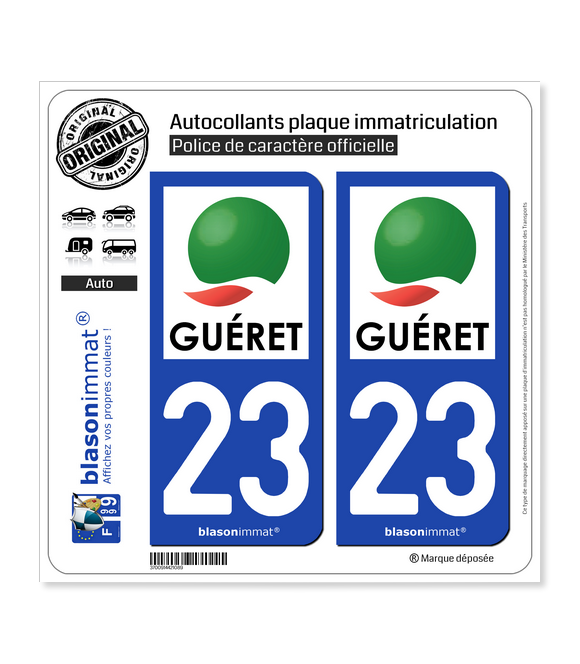 23 Guéret - Agglo | Autocollant plaque immatriculation