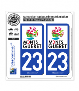 23 Guéret - Pays | Autocollant plaque immatriculation