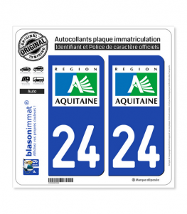 24 Aquitaine - LogoType | Autocollant plaque immatriculation