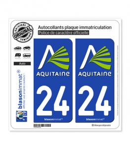 24 Aquitaine - Nostalgie | Autocollant plaque immatriculation