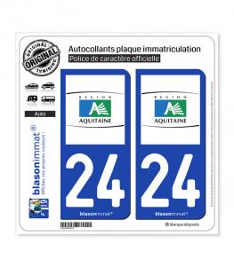 24 Aquitaine - Tourisme | Autocollant plaque immatriculation