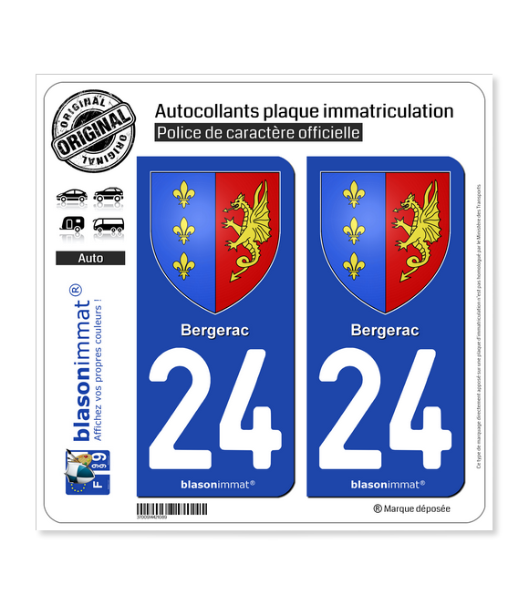 24 Bergerac - Armoiries | Autocollant plaque immatriculation