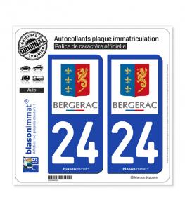 24 Bergerac - Ville | Autocollant plaque immatriculation