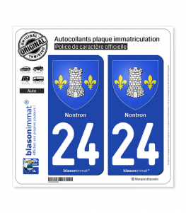 24 Nontron - Armoiries | Autocollant plaque immatriculation