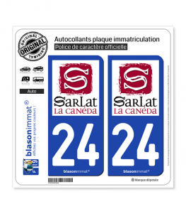 24 Sarlat-la-Canéda - Ville | Autocollant plaque immatriculation