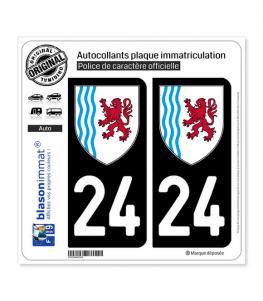 24 Nouvelle-Aquitaine - LogoType | Autocollant plaque immatriculation