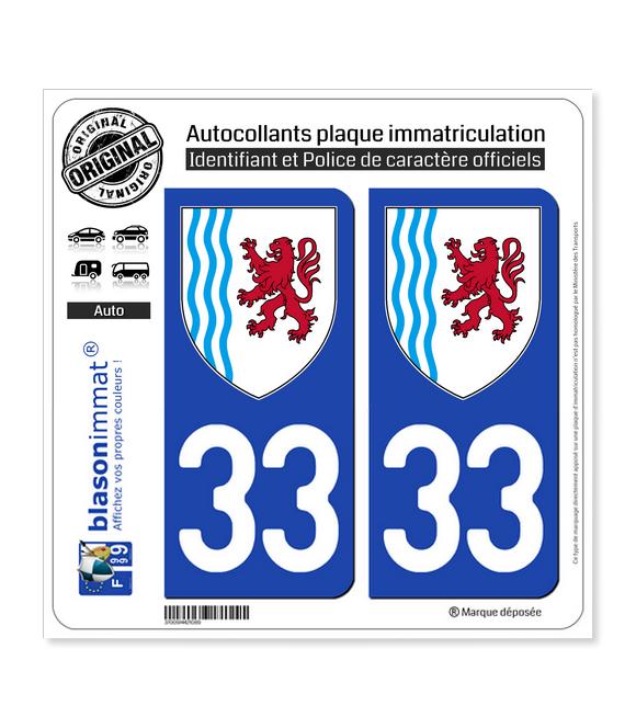 33 Nouvelle-Aquitaine - LogoType   Autocollant plaque immatriculation