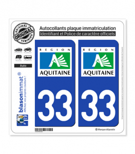 33 Aquitaine - LogoType | Autocollant plaque immatriculation