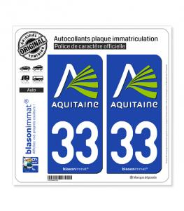 33 Aquitaine - Nostalgie | Autocollant plaque immatriculation