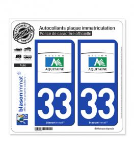 33 Aquitaine - Tourisme | Autocollant plaque immatriculation