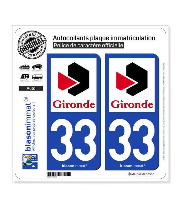 33 Gironde - Département | Autocollant plaque immatriculation