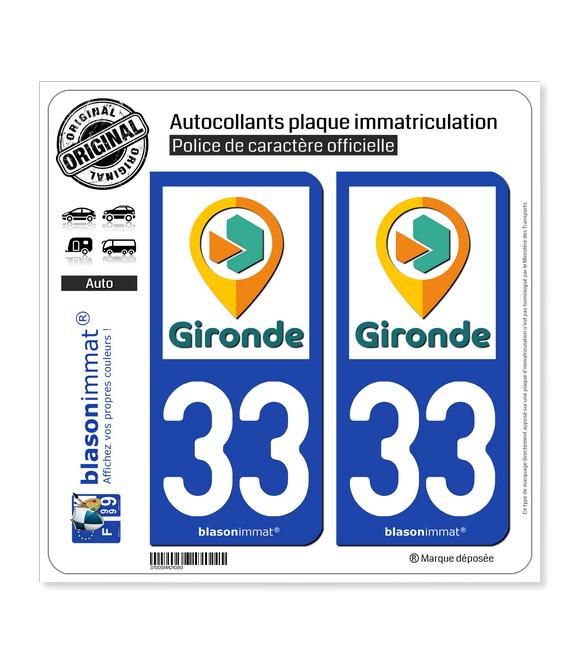 33 Gironde - Tourisme | Autocollant plaque immatriculation