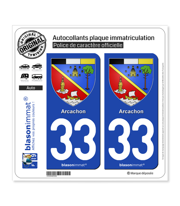 33 Arcachon - Armoiries | Autocollant plaque immatriculation