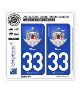 33 Blaye - Armoiries | Autocollant plaque immatriculation