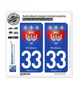33 Bordeaux - Armoiries | Autocollant plaque immatriculation