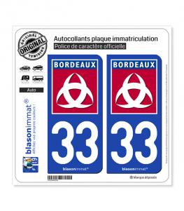 33 Bordeaux - Ville | Autocollant plaque immatriculation