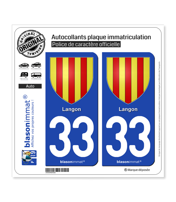 33 Langon - Armoiries | Autocollant plaque immatriculation