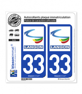 33 Langon - Ville | Autocollant plaque immatriculation