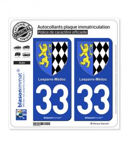 33 Lesparre-Médoc - Armoiries | Autocollant plaque immatriculation