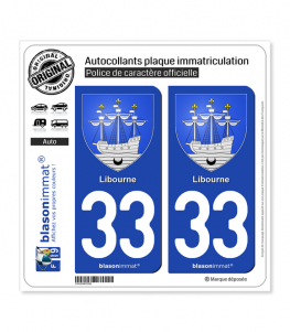 33 Libourne - Armoiries | Autocollant plaque immatriculation