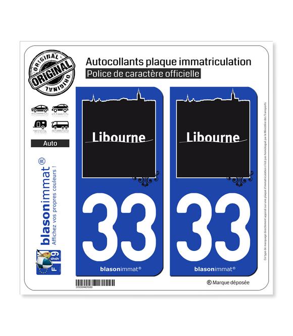 33 Libourne - Ville | Autocollant plaque immatriculation