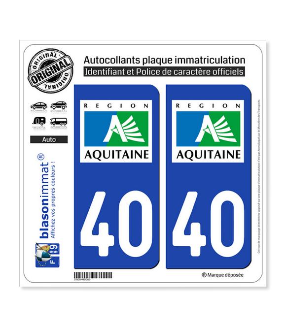 40 Aquitaine - LogoType | Autocollant plaque immatriculation