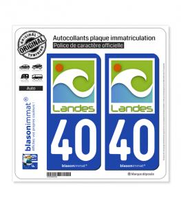 40 Landes - Naturel | Autocollant plaque immatriculation