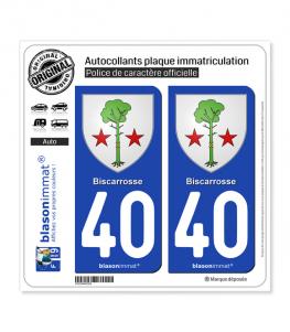 40 Biscarrosse - Armoiries | Autocollant plaque immatriculation