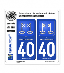 40 Mont-de-Marsan - Armoiries | Autocollant plaque immatriculation
