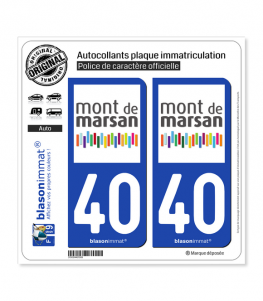 40 Mont-de-Marsan - Agglo | Autocollant plaque immatriculation