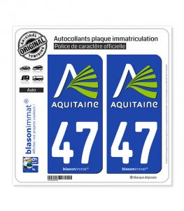47 Aquitaine - Nostalgie | Autocollant plaque immatriculation