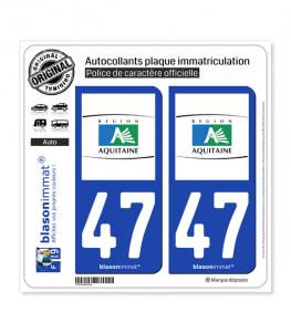 47 Aquitaine - Tourisme | Autocollant plaque immatriculation