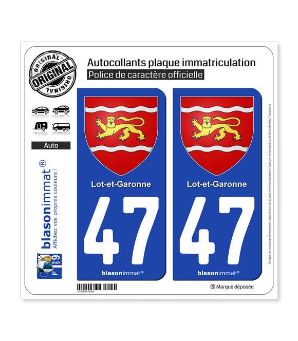 47 Lot-et-Garonne - Armoiries | Autocollant plaque immatriculation