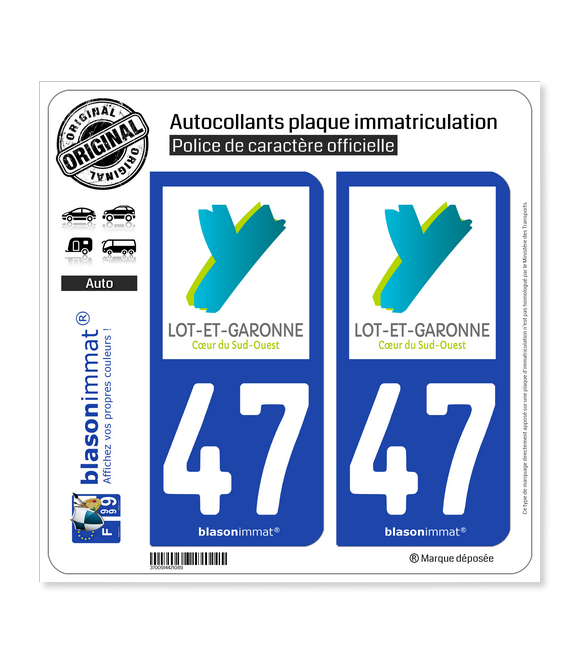 47 Lot-et-Garonne - Département | Autocollant plaque immatriculation