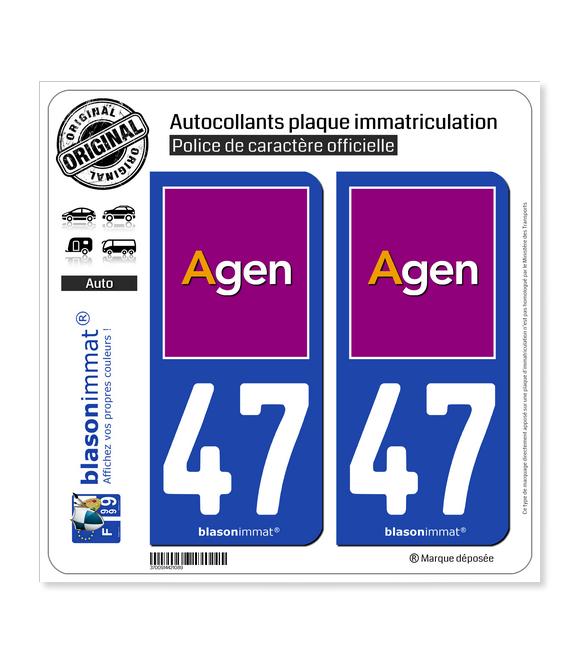 47 Agen - Ville | Autocollant plaque immatriculation