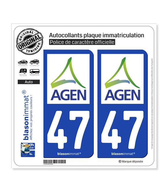 47 Agen - Agglo | Autocollant plaque immatriculation