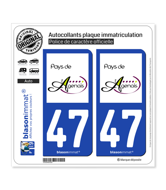 47 Agen - Pays | Autocollant plaque immatriculation