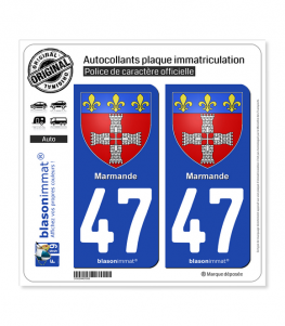 47 Marmande - Armoiries | Autocollant plaque immatriculation