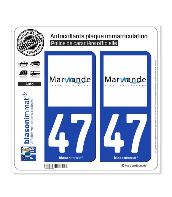 47 Marmande - Ville | Autocollant plaque immatriculation