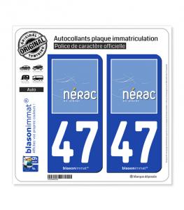 47 Nérac - Ville | Autocollant plaque immatriculation
