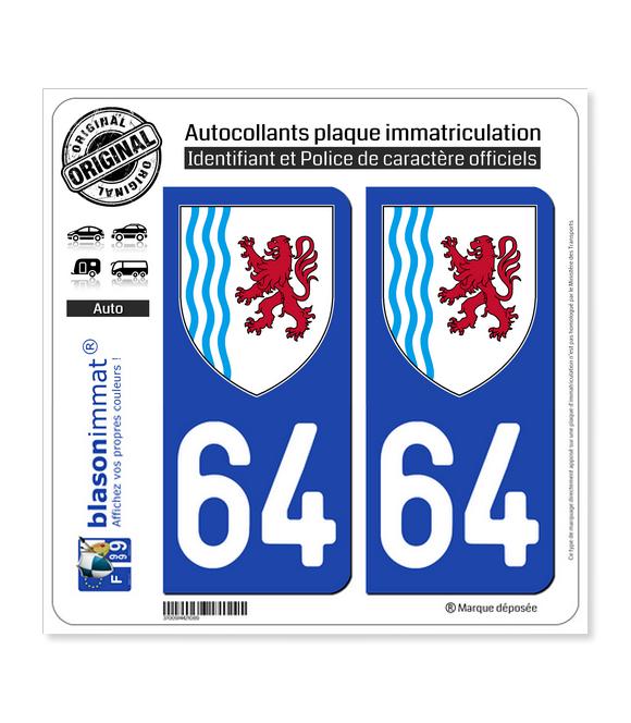 64 Nouvelle-Aquitaine - LogoType | Autocollant plaque immatriculation
