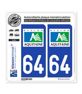 64 Aquitaine - LogoType | Autocollant plaque immatriculation
