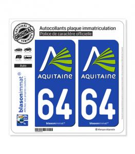 64 Aquitaine - Nostalgie | Autocollant plaque immatriculation