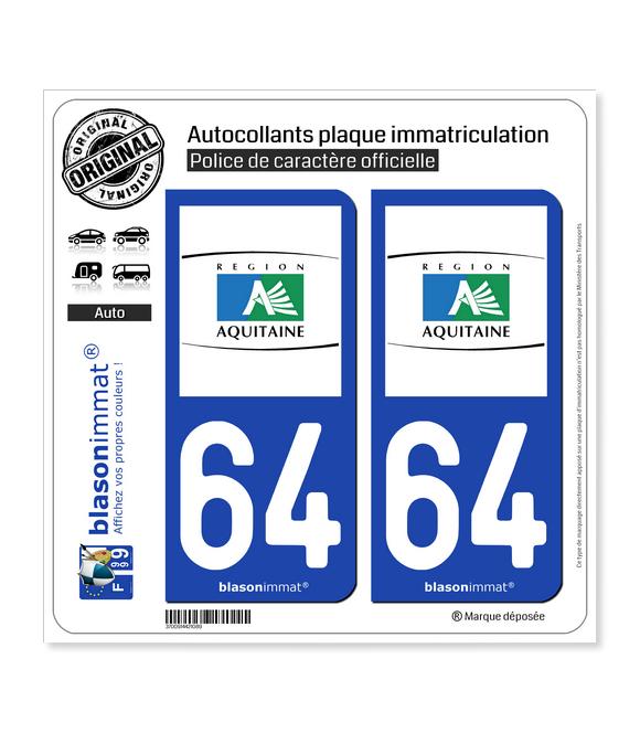64 Aquitaine - Tourisme | Autocollant plaque immatriculation
