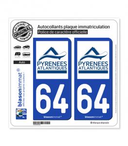 64 Pyrénées-Atlantiques - Département | Autocollant plaque immatriculation
