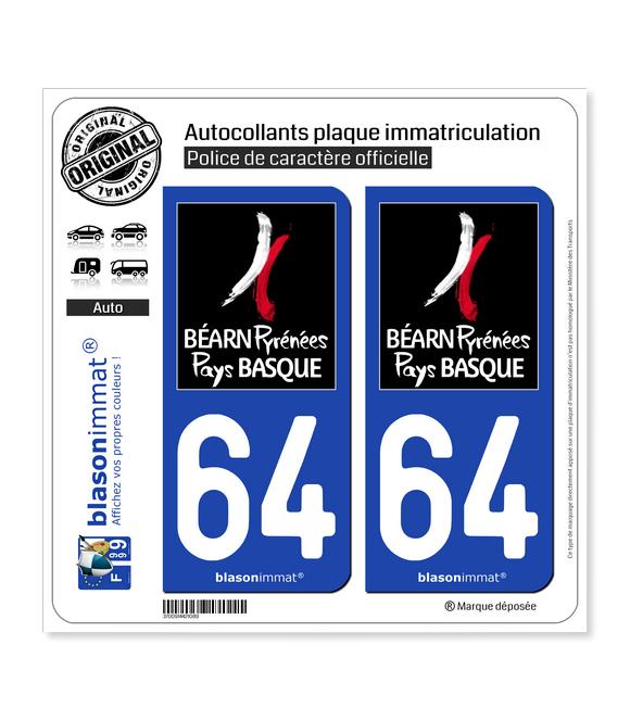 64 Pyrénées-Atlantiques - Tourisme | Autocollant plaque immatriculation