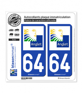 64 Anglet - Ville | Autocollant plaque immatriculation