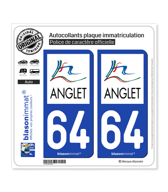 64 Anglet - Agglo | Autocollant plaque immatriculation