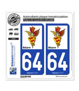64 Béarn - Armoiries II | Autocollant plaque immatriculation