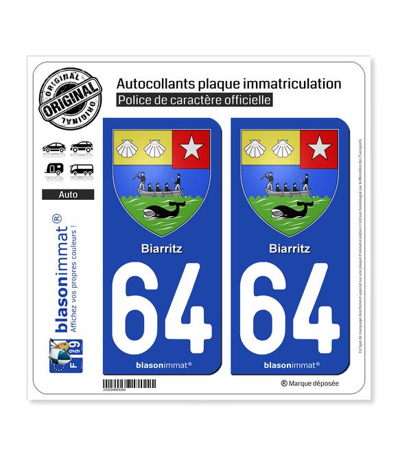 64 Biarritz - Armoiries | Autocollant plaque immatriculation
